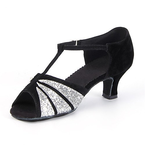 Sliver Cuban Paillette T Heel Sliver and Colors Black Suede T Shoes More Black Dance Q Women's and 4xOwxq10Y
