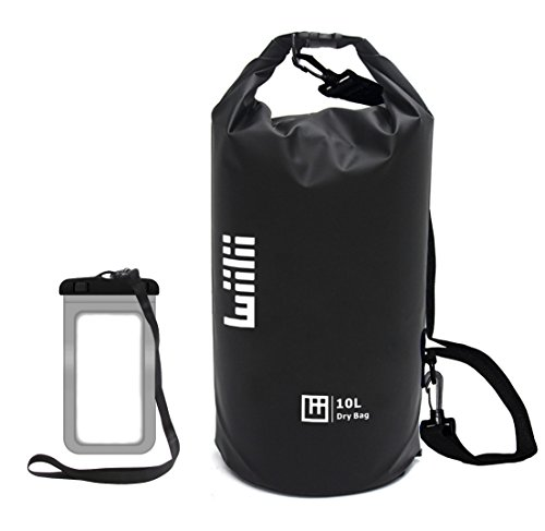 WIILII Waterproof Dry Bag 10L/20L Roll Top Compression Dry Gear Backpack with Water Proof Phone Case and Shoulder Strap for Boating, Duffle, Floating, Fishing, Kayaking, Rafting.