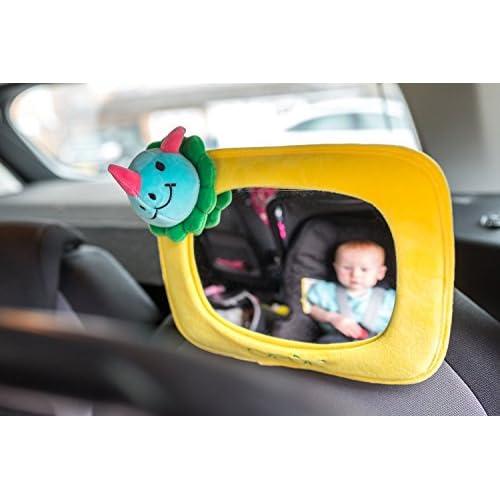 Miroir de Voiture pour Bébé, Rétroviseur de Voiture Ajustable pour Bébé, Cadre Jaune en Peluche, Convient à tout Type de Véhicule - Miroir de Vision par Opul chic