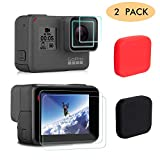 FINENIC GoPro Hero 7(Black) 6 5 Lens Protector case Accessories - Screen Protector Film+Tempered Glass Lens Protection Film+Lens Cover Lens Cap Accessories 【6-Pack】【Black+Red】