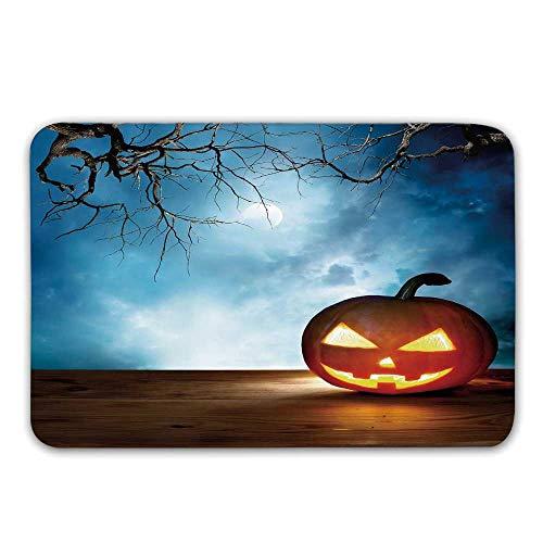 TecBillion Halloween Non Slip Door Mat,Traditional Celebration Icon Pumpkin on Wooden Board Fantasy Midnight Sky Trees Doormat for Front Door Indoor,31.5