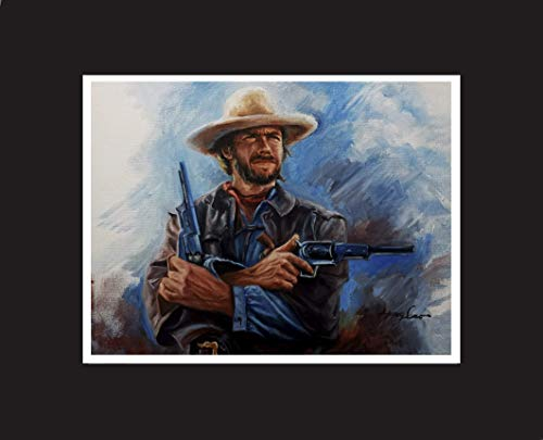 Clint Eastwood, western movie celebrity, original oil painting artwork print, with black mat. Limited edition, artist signed.