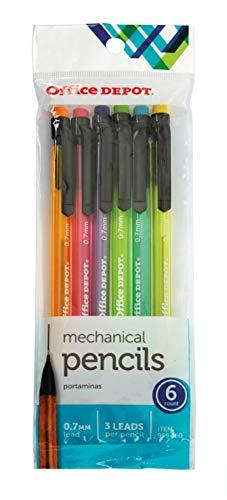 (Office Depot HB Mechanical Pencils, 0.7 mm, Assorted Color Barrels, Pack Of 6, OD896751)