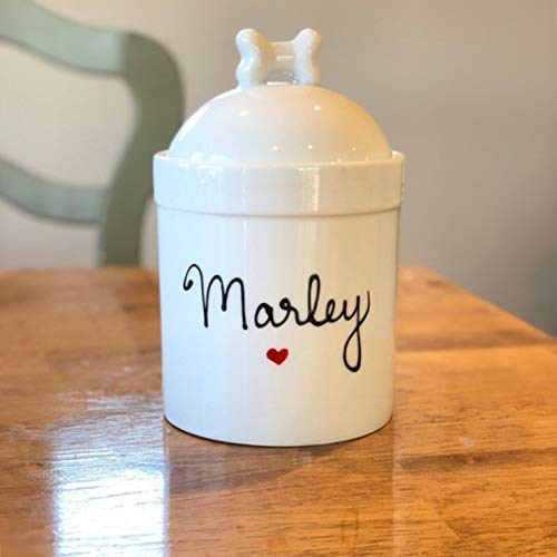 Small Pet Snack or Treats Jar - Small Size Personalized Dog Treat Jar, Personalized with Name, Airtight Pet Treat Jar with Silicone Seal Treats Jar With Airtight Lid - Personalized ()