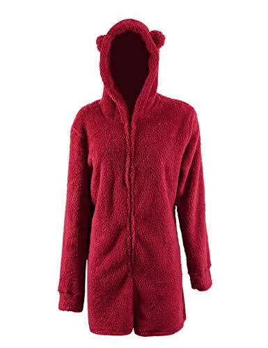 cf21f20f670e Missfamo Ladies Cute Long Sleeve Sleepwear Fleece Hooded Cozy Sherpa Romper  Fluffy Pajamas Short
