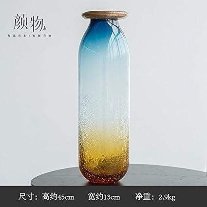 Botella de vidrio azul-vasijas decoradas con finas, directamente de la boca del cilindro L: Amazon.es: Hogar