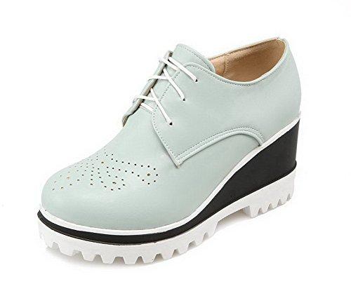 AgooLar Damen Rund Zehe Hoher Absatz Weiches Material Rein Schnüren Pumps Schuhe Blau