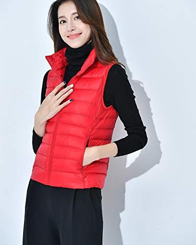 Sans Sans Manche Manche Manche Hiver Rouge Veste Manteau Femme Légère Zippée Gilet 11xPOrq