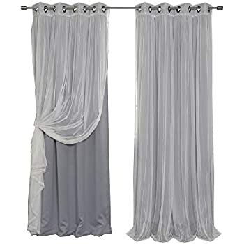 Best Home Fashion uMIXm Mix and Match Tulle Sheer Lace and Blackout 4 Piece Curtain Set - Antique Bronze Grommet Top - Grey - 52