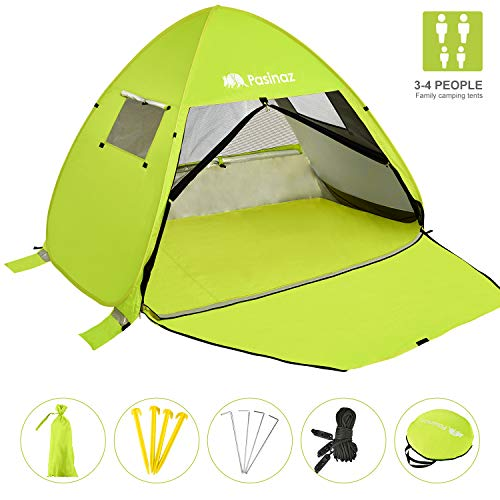 Pasinaz Pop Up Tent 3-4 People Family Beach Tent Camping Shelter Anti UV Sun Shade Outdoor Cabana Green