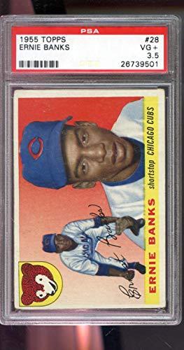 1955 Topps #28 Ernie Banks Chicago Cubs MLB PSA 3.5 Graded Baseball Card (Card Graded Baseball Ernie Banks)