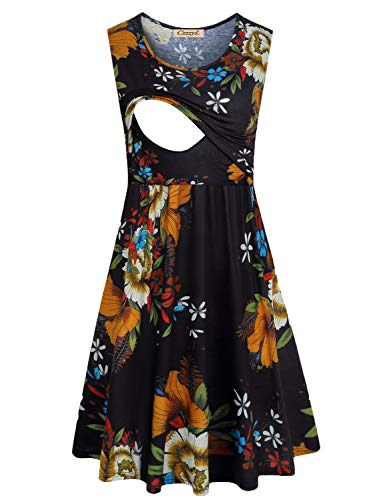 CzzzyL Maternity Dress for Women, Juniors Sleeveless Daily Casual Clothes for Nusring Mother Postpartum Soft Pleated Front Tunic Dresses for Flower Print Pregnancy(Black,Medium)