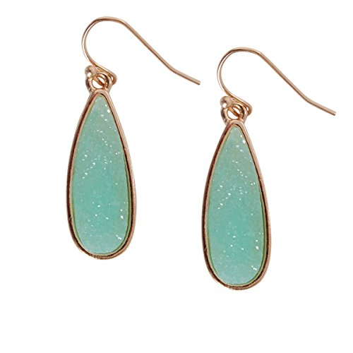 Humble Chic Simulated Druzy Drop Dangles - Gold-Tone Sparkly Long Teardrop Dangly Earrings for Women, Aqua, Simulated Aquamarine, Mint, Simulated Jade, Gold-Tone