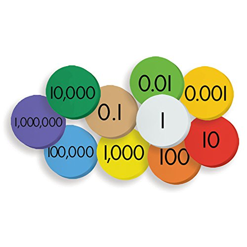 Essential Learning Products ELP626638 10-Value Decimals to Whole Numbers Place Value Discs Set (Pack of 250) ()