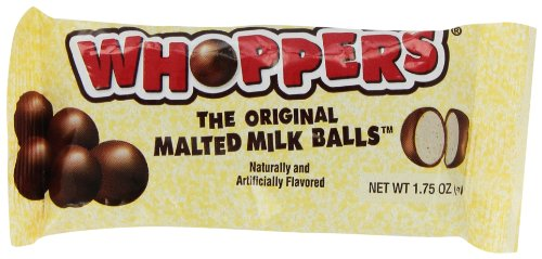 WHOPPERS Candy (Chocolate Covered Malted Milk Candy Balls), 1.75 Ounce Bag (24 Count)