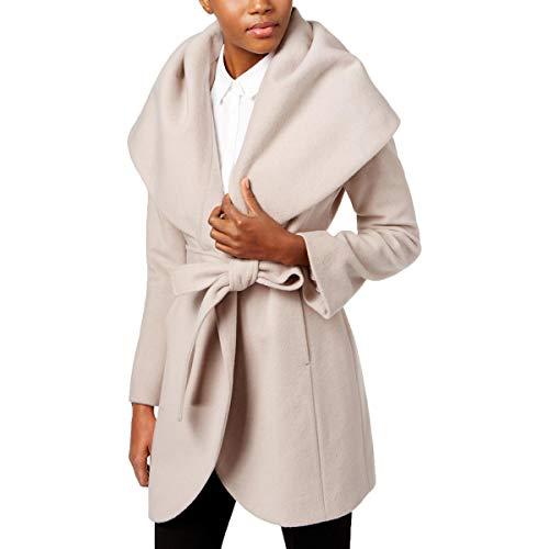 T Tahari Womens Marla Winter Wool Blend Wrap Coat Beige L