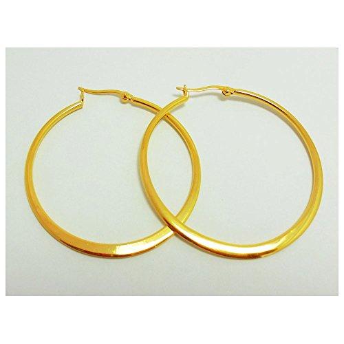 22k Gold Hoop Earrings (HOOPS CLASSIC THAI EARRINGS 22K 23K 24K THAI BAHT YELLOW GOLD PLATED)