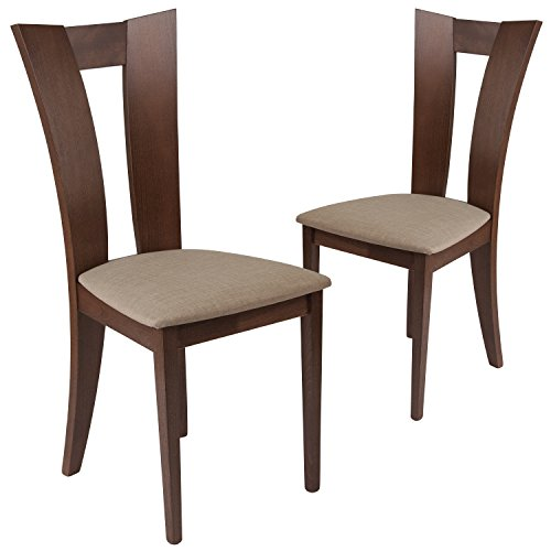 Flash Furniture 2 Pk. Talbot Walnut Finish Wood Dining Chair with Slotted Back and Magnolia Brown Fabric Seat For Sale