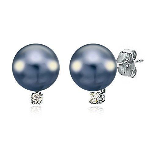 14K White Gold Cultured Freshwater Black Pearl Stud Earrings Diamond Wedding Jewelry 1/50 CTTW 7-7.5mm