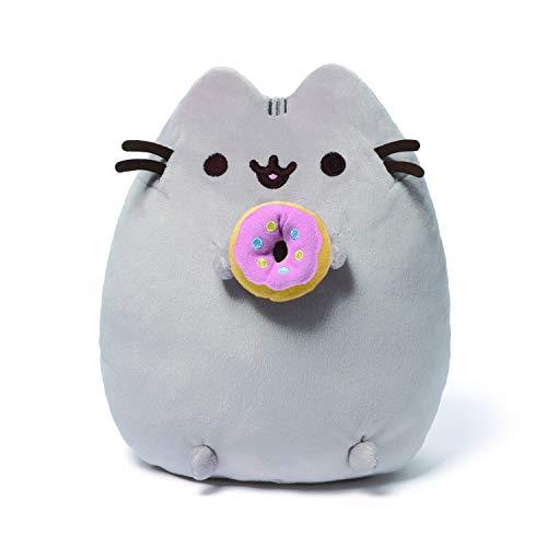 (GUND Pusheen Snackables Donut Cat Plush Stuffed Animal, Gray, 9.5