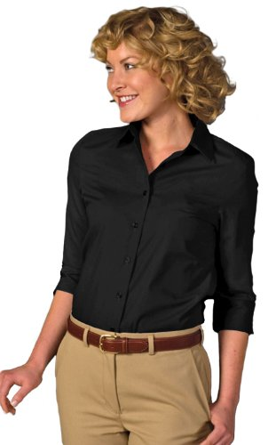 Edwards Women's Soft Collar 3/4 Sleeve Poplin Shirt, Black, XXS (Sleeve 3/4 Womens Shirt Poplin)