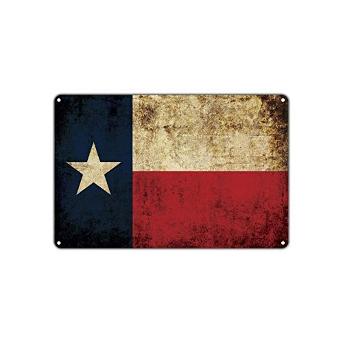 Ballkleid Decoration Plaque Sign Texas State Flag Retro Metal Safety Gift for Home Door Street Garage Fence ()