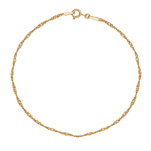 Ritastephens 10K Yellow Gold Singapore Anklet 10 Inches