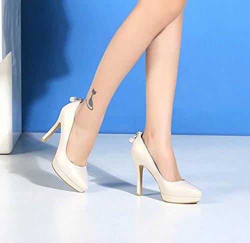 Charm Foot Womens Elegante Tacco Alto Scarpe A Punta Scarpe Albicocca