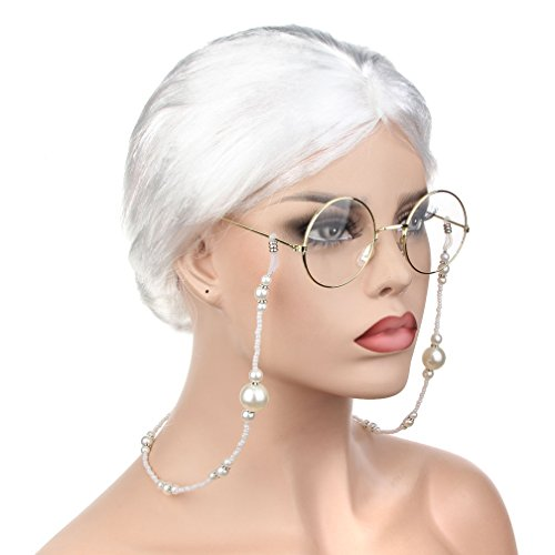3 Pieces Old Lady Cosplay Costume Set Granny Wig Glasses Eyeglass Chains Strap Accessories for Dress up (Old Lady Adult Wig)