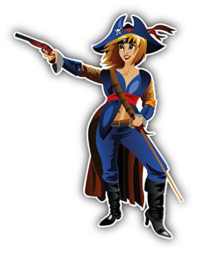 (Magnet Young Female Pirate Vinyl Magnet Bumper Sticker Magnet Flexible Vinyl Magnetic 5