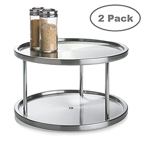 2 Tier 2 PK Lazy Susan   Stainless Steel 360 Degree Turntable U2013 Rotating 2  Level