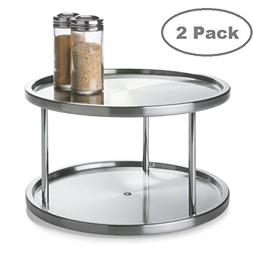 2 Tier 2 PK Lazy Susan - Stainless Steel 360 Degree Turntable – Rotating 2 Level Tabletop Stand for Your Dining Table, Kitchen Counters and Cabinets – Turning Table Spice Rack Organizer Tray - 2 P