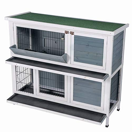 Good Life Two Floors Wooden Outdoor Indoor Bunny Hutch Rabbit Cage with Feeding Trough Guinea Pig Coop PET House for Small Animals Gray & White Color PET548