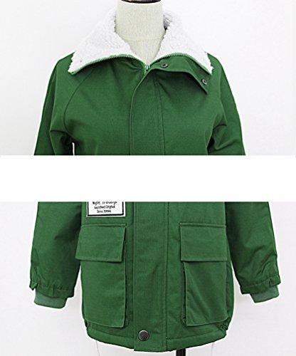 Invierno Gruesa Capa Capa Cordero Forro de Algodón Ejército Abrigo Verde y Caliente para Mujeres Otoño de YAANCUN z1w6q4n