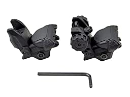 Sniper Tactical Folding Iron Sight Tower Set; Front and Rear BUIS Combo Set; Polymer; Black