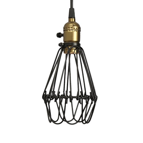 Vintage Pendant Light Wire Metal Cage Ceiling Hanging Lampshade Retro Cafe Bar Lamp shape E27 Base Industrial Lighting Fixture Chandelier Adjustable Edison Lights 110V 40W