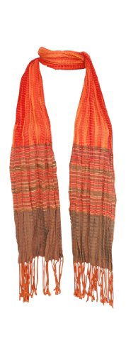 Amtal Women Multi Color Tie & Dye Ombre Crush Oblong Lightweight Soft Scarf (Orange)