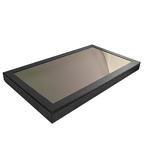 Black Leather Wrapped Acrylic Lid Full Size Display Case ~ 14 3/4