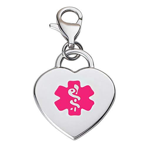 Divoti Deep Custom Laser Engraved Adorable Heart 316L Medical Alert Charm/Medical ID Charm w/Lobster Clasp-Violet