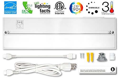 Britelum 14 Inch, 3-in-1 Color Temperature: Dimmable LED Under Cabinet Lighting; 2700K/ 3500K/ 4000K w/ CRI90+, Hardwired or Plug In, Energy Star, CA T24,& ETL Listed, 120V 7W 360 Lumens, White Finish