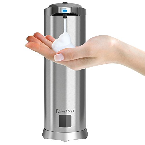 iTouchless SFC001D Ultraclean Automatic Foam Soap Dispenser, Rust-Free Stainless Steel Sensor 28 Fl. Oz, Touchless Pump for Bathroom and Kitchen by iTouchless