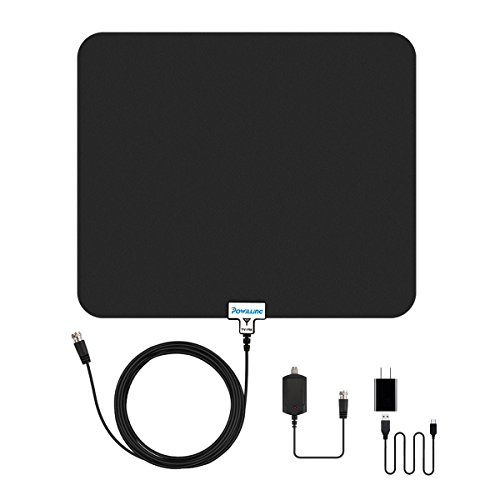 Tv Antenna  Powilling 50 Miles Hd Antenna For Digital Tv Indoor With Signal Amplifier   15Ft Coaxial Cable Length