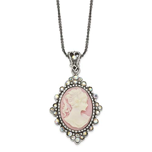 - 925 Sterling Silver Crystal Cameo Pendant 16 Chain Necklace Inch Charm Fine Jewelry Gifts For Women For Her
