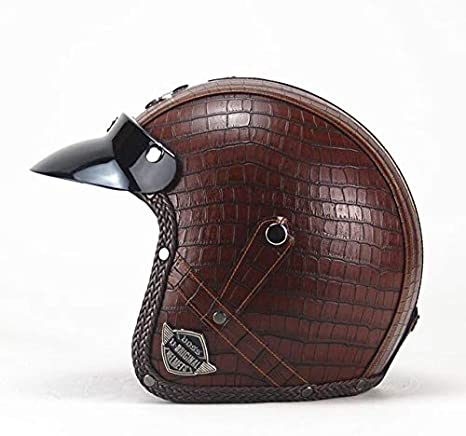 MYSdd Vintage 3//4 Leather Helmet Faceless Bicycle Helmet Motorcycle Helmet Motocross Visor Detachable with Glasses Fixing Belt Black leather 2 X XL