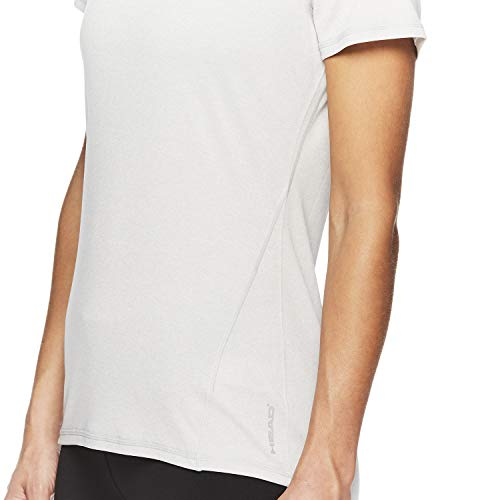 HEAD Women's Brianna Shirred Short Sleeve Workout T-Shirt - Marled Performance Crew Neck Activewear Top - Brianna Grey Heather, X-Small by HEAD (Image #4)