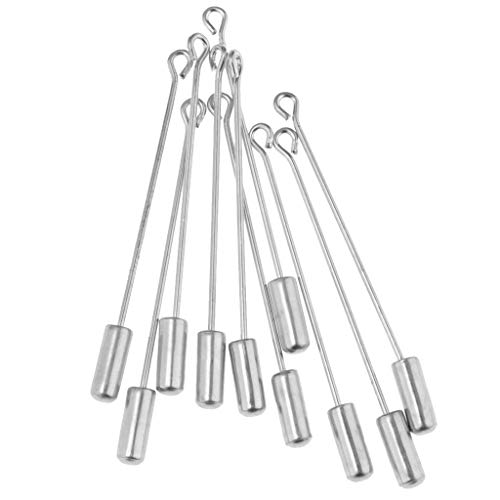 (Fenteer 10PC 5cm Beading Coat Stick Pin with Clutches Setting Brooches - Silver)
