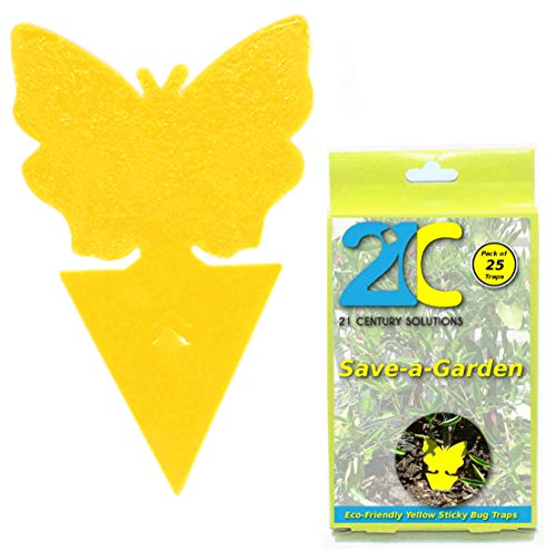 21C Yellow Dual Sticky Fly Traps (25 Pack) for Gnat Whitefly Fungus Gnat Leafminer Aphid Small Insects - Houseplant Bug Catcher - Eco Friendly Save a Garden Butterfly Shape ()