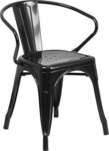 Flash Furniture Metal Chair with Arms, Black