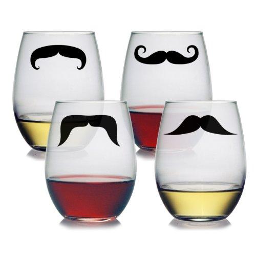 (Susquehanna Glass Moustache Stemless Glasses, Set of 4, 21 Ounces)