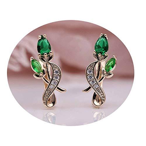 Women Noble Cute Jewelry 585 Rose Gold Water Drop Cubic Zircon Dangle Earrings,emerald ()